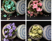 50 Salmon, Peach, Mint, Baby Pink, Violet or Yellow Satin Ribbon Roses