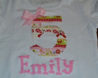 Girls Personalized Applique Name and Number Birthday Shirt w/ Bow Short or Long Sleeve