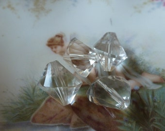 The Plastics!  4 Off Kilter Crystal Clear Beads
