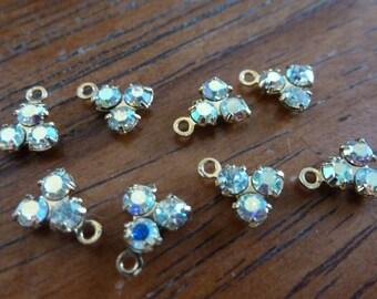 4 Swarovski Crystal Iridescent AB Tri-Set Jewel Drops C2