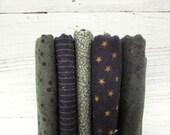 Cotton Fabric Bundle . Black Green Prints . Destash . Half Yards