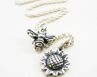 "Pendant Necklace, Bumble Bee Sun Flower Sterling Silver 24"", Oxidized Wings"
