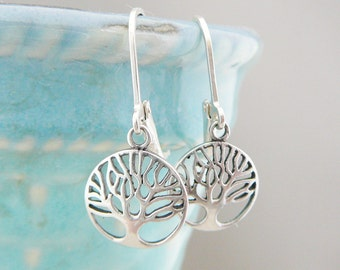 Sterling Silver Tree Of Life Earrings, Dangle earring, small round symbolic bridal party jewelry