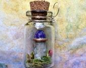 Moss Terrarium Mushrooms Fairy Castle Tiny glass Bottle Necklace