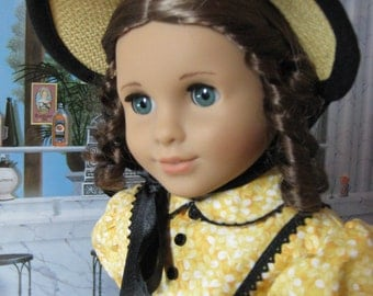 18 inch Doll Clothes American Girl  Black Trim Straw Color Poke Bonnet for Marie Grace and Cecile