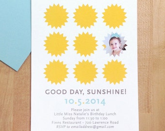 Sunshine birthday party invitations with photo, DIGITAL FILE
