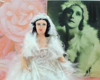 Anna Pavlova Doll Miniature in Dying Swan Costume Ballerina
