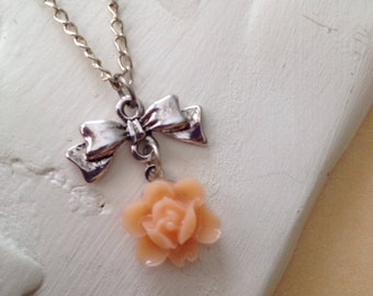 bow charm, peach flower cabochon, pendent necklace, layering necklace, chain necklace, valentines day