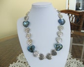 Silver and Blue Heart Necklace Necklace