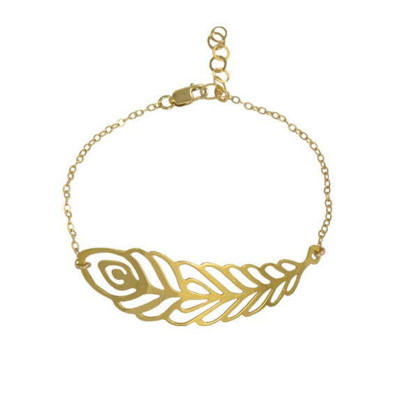 Gold Intricate Peacock Feather Bracelet // Sweet, Lacy, Feminine Filigree Peacock Feather Charm Wraps around Wrist with a Dainty Gold Chain
