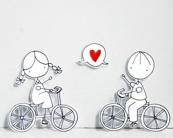 BIKE LOVE - - Photo print - Paper diorama - letter size