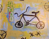 floorcloth painted rug kids room rug bicycle floor mat yellow and blue