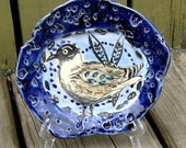 bowl ceramics bird feathers blue white decorative wall bowl OOAK ceramic bowl nuts candy olives