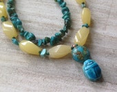 SALE - Turquoise Scarab Necklace - Moroccan Style - Citrine and Turquoise - One of a Kind Repurposed Necklace
