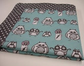 Manly Owls Pink Aqua Gray Minky Blanket MADE TO ORDER No Batting