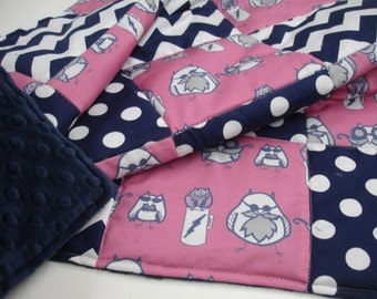 Manly Owls Pink and Navy Blue Minky Blanket 32 X 32 READY TO SHIP  On Sale