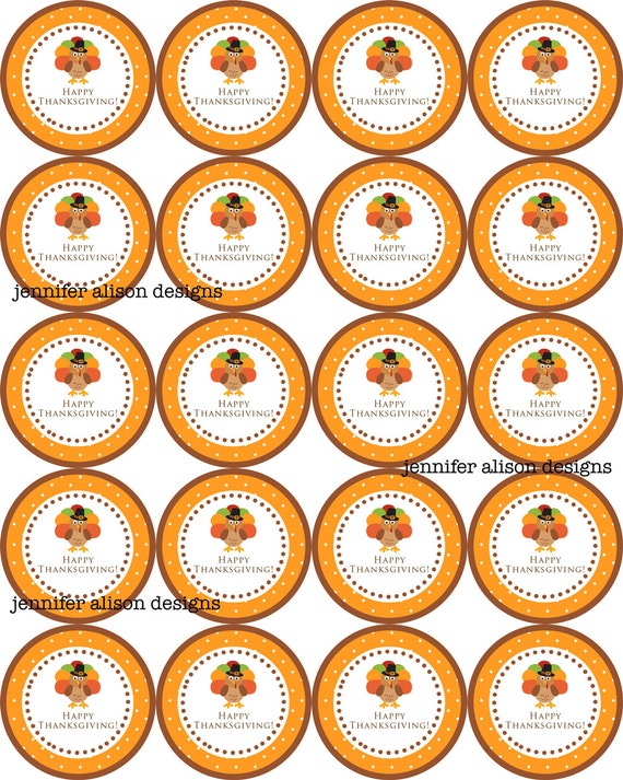 """INSTANT DOWNLOAD / Thanksgiving Turkey Give Thanks 2"""" printable Party Circles / Cupcake Topper / Stickers / Thank You Tags"""