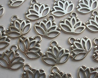 10 Lotus Flowers Silver Tone Charms