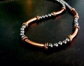 Copper jewelry - copper anniversary gift - copper necklace - hematite necklace - copper metal jewelry - 7th anniversary gift - 22nd - SALE