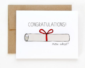 Funny Graduation Card - Graduation Congratulations Card - Now What