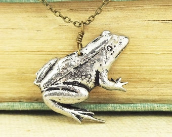 Frog Necklace. Antiqued Pewter and Antiqued Bronze Chain Necklace Pendant.