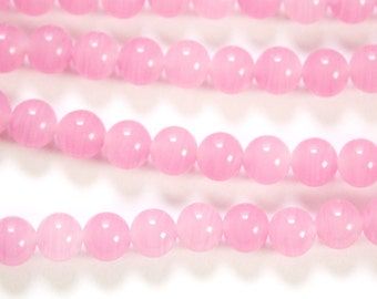 Vintage Light Rose Pink Glass Beads Japan 8mm (8) jpn003U