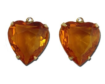 Topaz Glass Heart Pendants in 1 Loop Gold Plated Setting 15mm (2) hrt003D