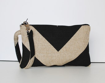 Square Wristlet  Zipper Pouch - Chevron Black / Dention