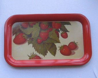 Vintage Serving Tray or Lap Tray with Litho Print of Strawberries - C. 1970s