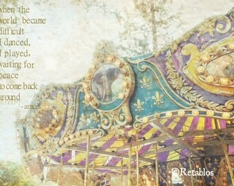 Retablo Affirmation Photography - Proceeds Benefit Animal Rescue, Merry Go Round, Carnival Elephant, Spring Summer Memories, 8x10 Photo