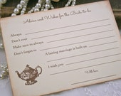 Bridal Shower Game Cards Activity Cards Fill in Blank Advice and Wish Cards Tea Party Set of 10