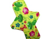 Maxi cloth menstrual pad 11 inches long with PUL -Hibiscus Frogs