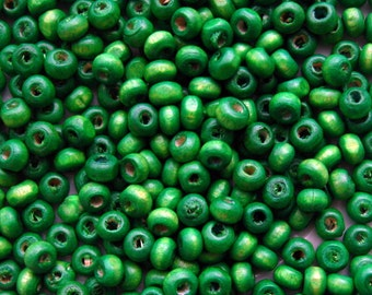 Green Wooden Beads - Over 200 - 4mm Bright Green Wood Beads (WBD0026)