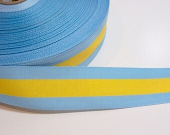 Blue Ribbon, Blue with Yellow Stripe Grosgrain Ribbon 1 1/2 inches wide x 10 yards
