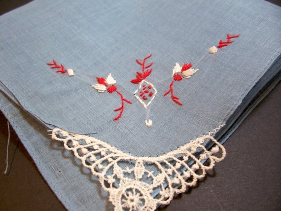 Vintage Ladies Blue Cotton Embroidered Handkerchief Lace Inset CLEARANCE