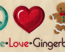 Peace Love Gingerbread Embroidered Hand Towel