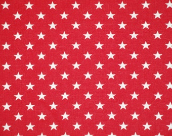 Star Fabric | Cotton Fabric | Home Decor Fabric | Quilt Fabric | Apparel Fabric |  Red With White Stars Fabric | Old Glory Fabric | 1 Yard