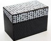 Bridal Shower Recipe Box Black and White Polka Dots Fits 4x6 Recipe Cards