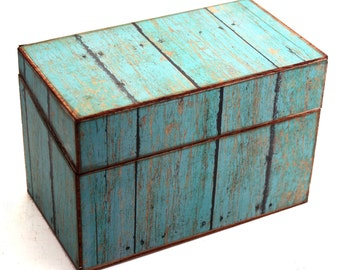 Bridal Shower Recipe Box Wood Faux Distressed Turquoise Fits 4x6 Recipe Cards