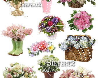 Vased Flowers Collage Sheet 1 You Will Get a jpeg sheet as well as Png images