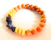 Sunfires and A Rainbow - Magnesite and Rainbow Aura Quartz Healing Gemstone Bracelet