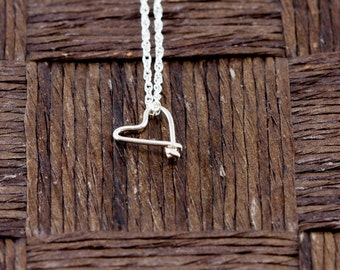 Sterling Silver Wire Wrapped Initial Pendant and Necklace - Heart