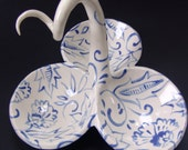 Delft Blue Ceramic serving dish with whimsical blue & white pattern - blue china 3 section server