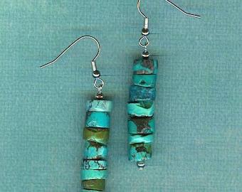 Southwestern Turquoise Dangle Earrings Pierced Blue Green American Cowgirl Western Jewelry (Free US Shipping)