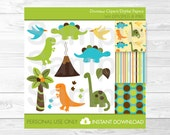Cute Dinosaur Clipart / Dinosaur Patterns / Dinosaur Digital Paper / Dinosaur Baby Shower / Baby Boy Shower / PERSONAL USE Instant Download