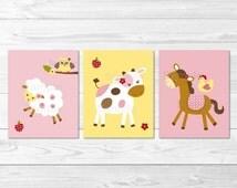 Pink Farm Animal Nursery Wall Art PRINTABLE Instant Download