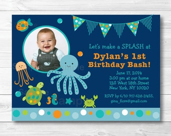 Cute Under the Sea Birthday Invitation / Under The Sea Birthday Invite / Cute Sea Animals / Nautical / 1st Birthday / 2nd Birthday PRINTABLE