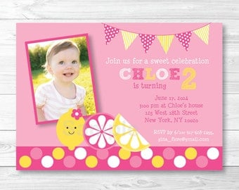 Cute Pink Lemonade Birthday Invitation / Pink Lemonade Birthday Invite / Pink Lemonade Party / 1st Birthday / 2nd Birthday Any Age PRINTABLE