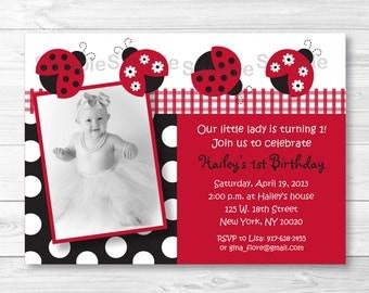 Cute Ladybug Birthday Invitation / Ladybug Birthday Invite / Gingham Pattern / Red & Black / PRINTABLE Any Age