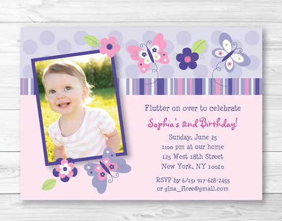 Pink Butterfly Birthday Invitation Invite